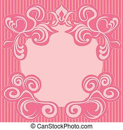 rózsaszínű, dekoráció, elvont, keret