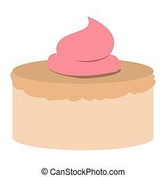 rózsaszínű, dekoratív, szín, kéz, torta, rajz, buttercream