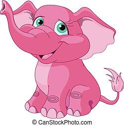 rózsaszínű, elefánt