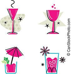 rózsaszínű, elszigetelt, gyűjtés, retro, fehér, iszik