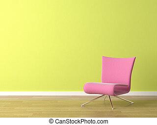 rózsaszínű, fal, szék, zöld