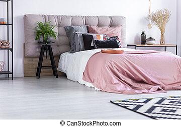 rózsaszínű, fedő, ágy, paplan