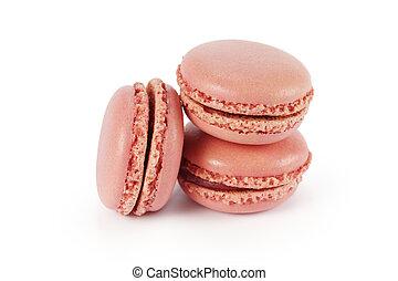 rózsaszínű, fehér, három, macarons, elszigetelt