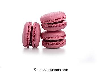 rózsaszínű, fehér, három, macaroons, elszigetelt