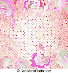 rózsaszínű, flower., polka, eps, háttér, 8, pont