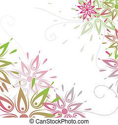 rózsaszínű, flowers., vektor, ábra