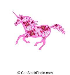 rózsaszínű, gyönyörű, futás, vektor, egyszarvú
