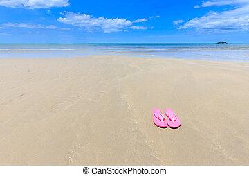 rózsaszínű, gyönyörű, szandál, tengerpart