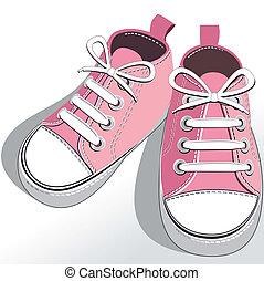 rózsaszínű, gyerekek, cipők