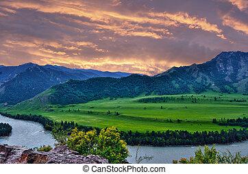 rózsaszínű, hegy, türkiz, felett, altai, katun, folyó, félhomály, oroszország, hegyek