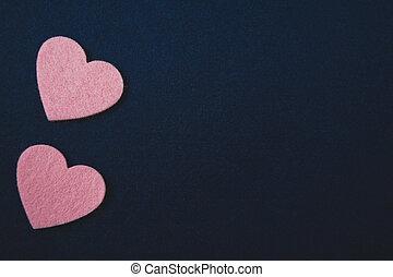 rózsaszínű, kék, valentine's, filc, sötét, háttér., piros, nap