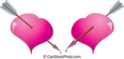 rózsaszínű, két, ábra, éles, vektor, nyílvesszö, piros, fénylik