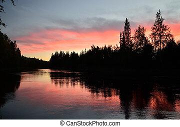 rózsaszínű, karelia, pongoma, river., twilight., oroszország