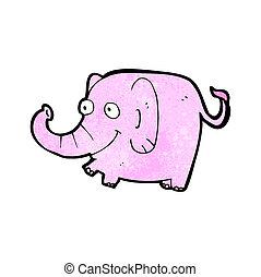 rózsaszínű, karikatúra, elefánt