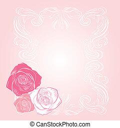rózsaszínű, kellemes, keret, rózsa