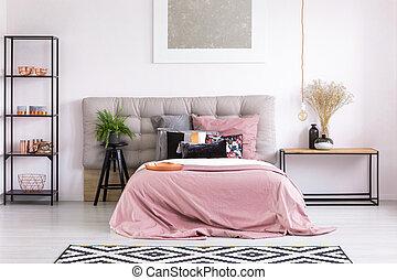 rózsaszínű, king-size, ágy, paplan