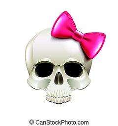 rózsaszínű, koponya, elszigetelt, íj, vektor, leány, fehér