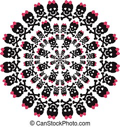 rózsaszínű, koponya, pattern., íj, háttér., fehér, kör alakú