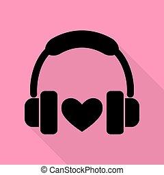 rózsaszínű, lakás, mód, heart., fejhallgató, háttér., fekete, út, árnyék, ikon