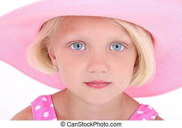 rózsaszínű, leány, kalap, gyermek