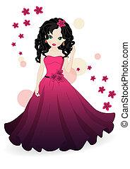 rózsaszínű, leány, ruha