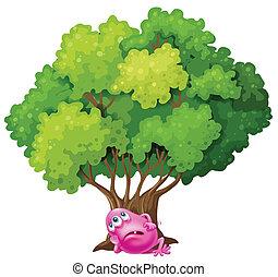 rózsaszínű, maradék, fa, szörny, alatt