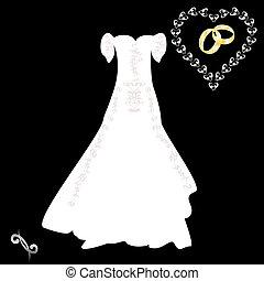 rózsaszínű, motívum, ruha, bla, esküvő