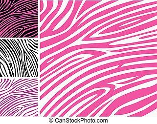 rózsaszínű, motívum, zebra, állat bőr print