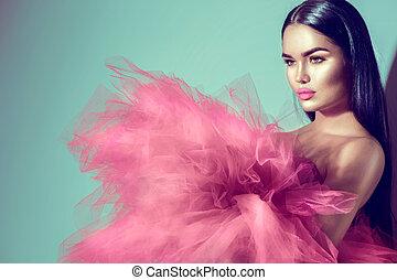 rózsaszínű, nő, barna nő, műterem, nagyszerű, feltevő, formál, ruha