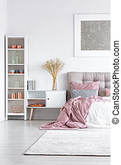 rózsaszínű, pasztell, ágy, paplan