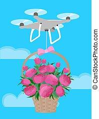 rózsaszínű, peonies, szeret, tehetség, csokor, kiszolgáltat, kedves, henyél, kosár, nap