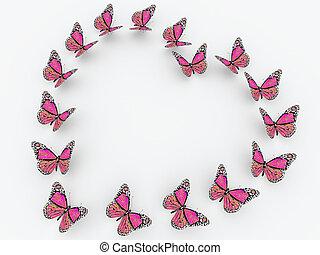 rózsaszínű, pillangók, fehér, elszigetelt, háttér