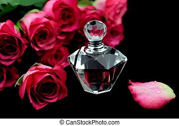 rózsaszínű, pohár, agancsrózsák, palack, illatszer