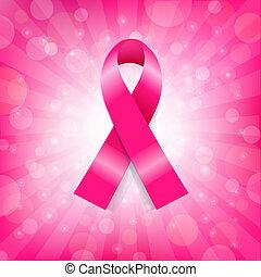 rózsaszínű, rák, transzparens, mell, szalag