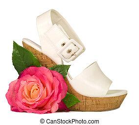 rózsaszínű rózsa, cipő, elszigetelt