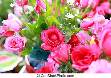 rózsaszínű rózsa, csokor