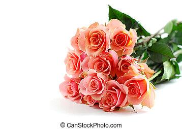 rózsaszínű rózsa, fehér, csokor