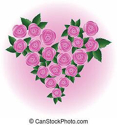 rózsaszínű rózsa, vektor, szív