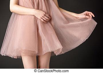 rózsaszínű ruha, sifón, szürke, körbevágott, elszigetelt, feltevő, tender, leány, kilátás