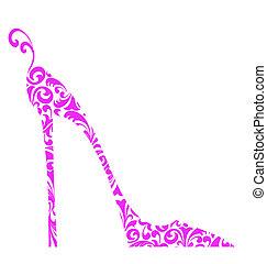 rózsaszínű, sarkú, magas, cipő, sikk, retro