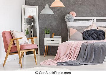 rózsaszínű, szék, lány, hálószoba