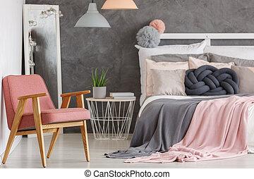 rózsaszínű, szék, meglehetősen, hálószoba