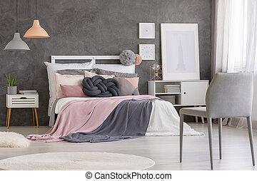 rózsaszínű, szék, szürke, hálószoba