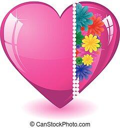 rózsaszínű, szív, ábra, kedves, menstruáció, vektor, háttér