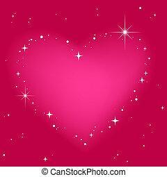 rózsaszínű, szív, ég, csillag