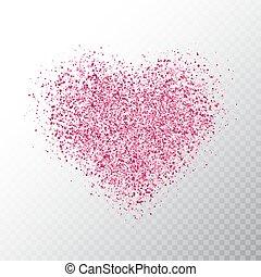 rózsaszínű, szív, dust., heart., transzparens, particles., varázslatos, elszigetelt, ábra, izzó, háttér., fényes, vektor, fényűzés, pattog, csillag, ünnep, fénylik, áttetsző, design.