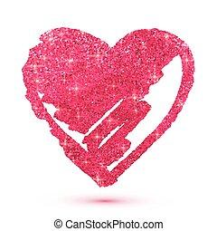 rózsaszínű, szív, elszigetelt, fehér, fénylik, csillogó