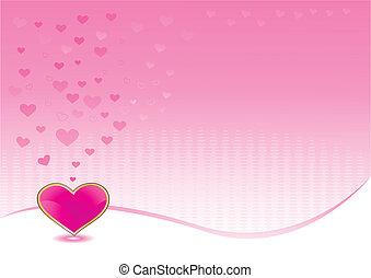 rózsaszínű, szív, fényes, háttér
