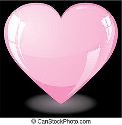 rózsaszínű, szív, fénylik
