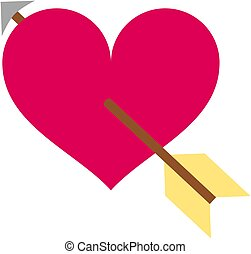 rózsaszínű, szív, icon., nyíl, ámor